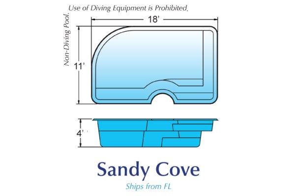 In Ground Fiberglass Swimming Pools Shell for Sale in Michigan Sandy Cove