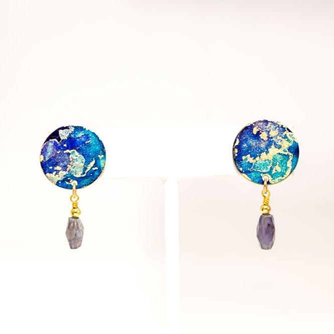 Twilight Mini Drop Earrings w/ Labadorite DropsTwilight Mini Drop Earrings w/ Labadorite Drops