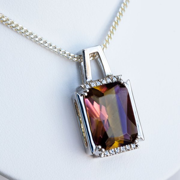 Ametrine Quartz & White Sapphire Pendant angle view up close.