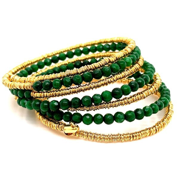 8 Row Jade & Mesh Bracelet toppled over sideways showing flexibility of the rows.