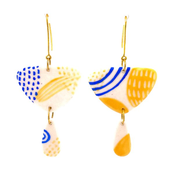 Blue & Yellow Triangle Drop Earrings front view.