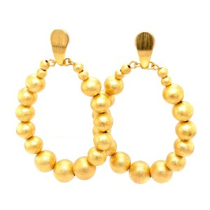 Front view of 18KY plated bubbles earrings by Creative Brazil
