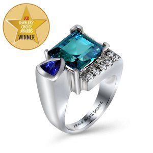 Caribbean Blue Topaz & Lab Tanzanite Ring standing angle view.