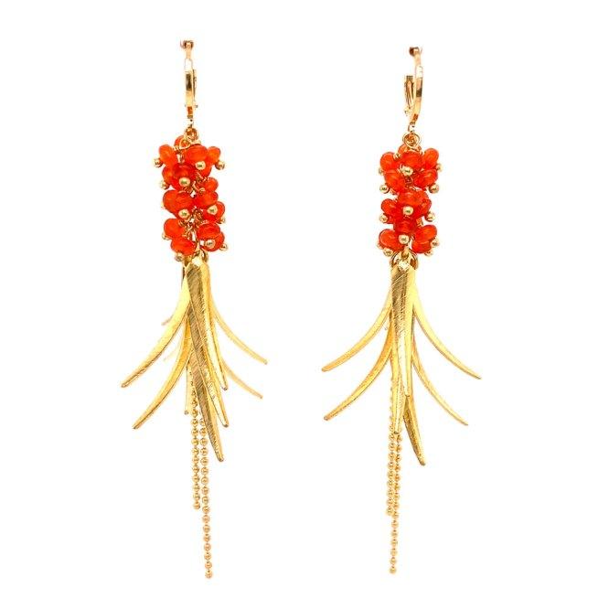 Orange Bead Feather Dangle Earrings