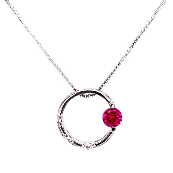 Pink Topaz Circle Pendant front view.