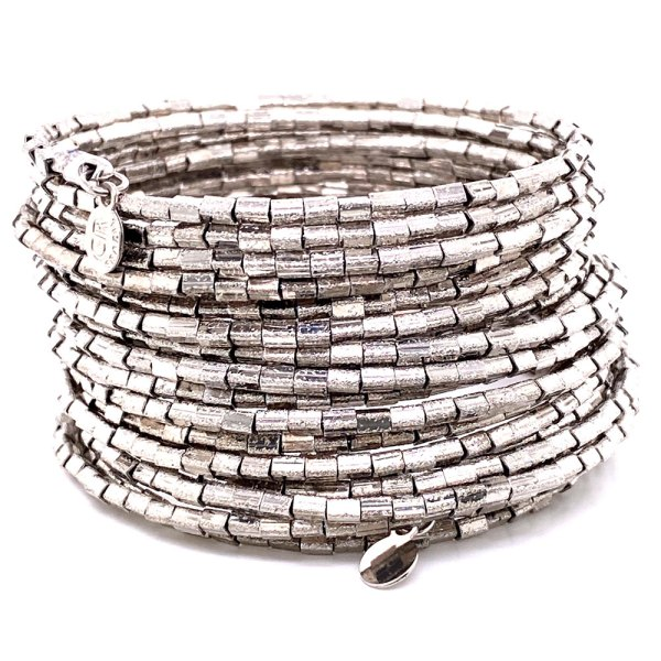 Rhodium Plated 20 Row Links Bracelet