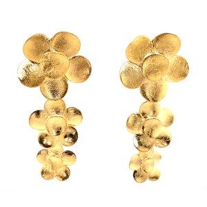 18ky Plated Triple Flowers Earrings
