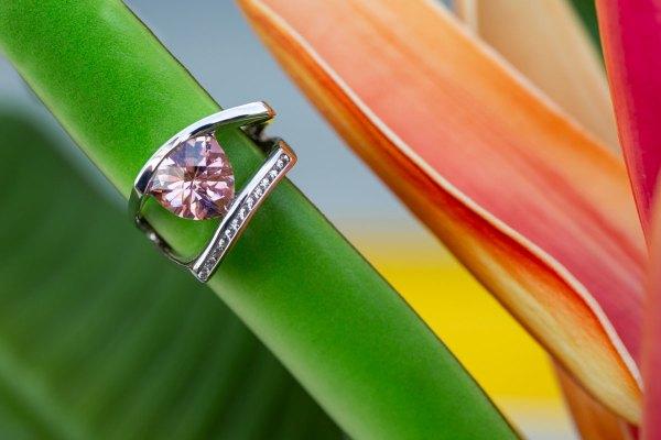 Sunset Quartz Ring on a flower stem.