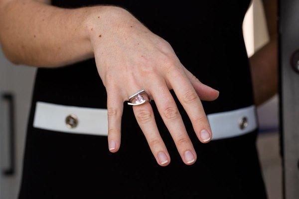 Sunset Quartz Ring on a models hand.