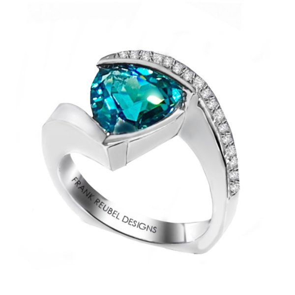 Trillion Cut Caribbean Blue Topaz Ring standing angle view.