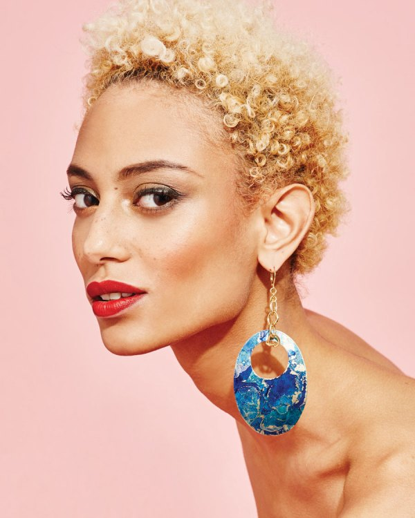 Twilight Sunset Earrings on a model.