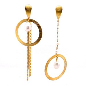 Yellow Gold Asymmetrical Pearl & Hoop Earrings