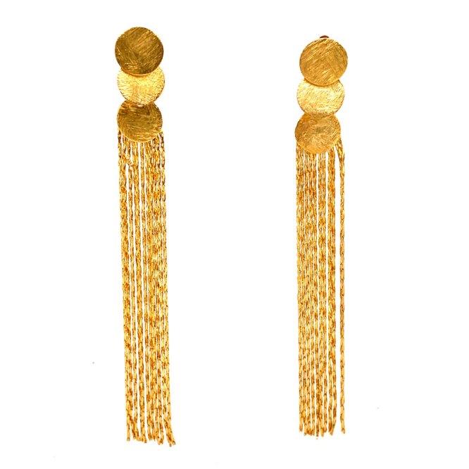 Yellow Gold Circles Fringe Earrings