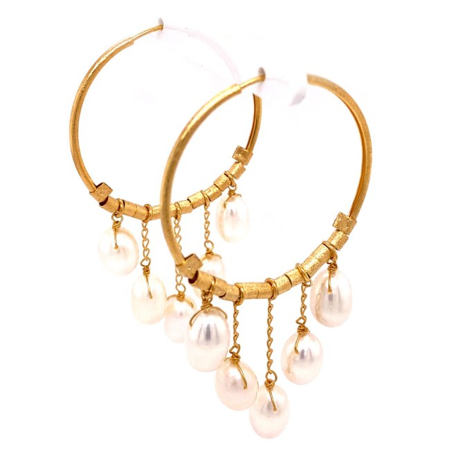 Yellow Gold Pearl Drop Hoop Earrings side angle view.