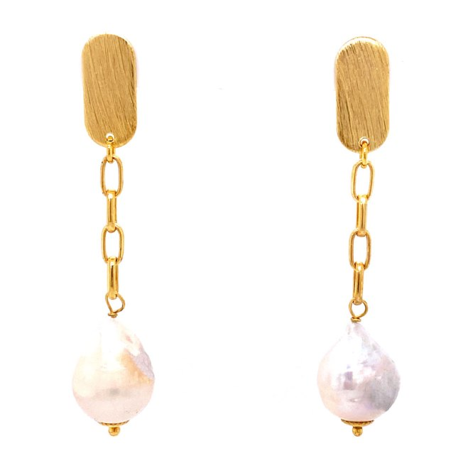 Yellow Gold Pearl Paper Clip Drop Earrings