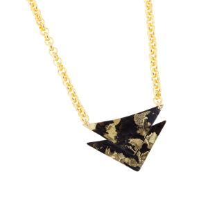 Black & Gold Arrow Pendant Necklace