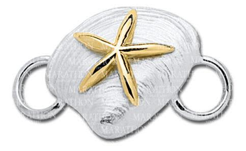 Clam Shell with Yellow Gold Starfish Convertible Clasp
