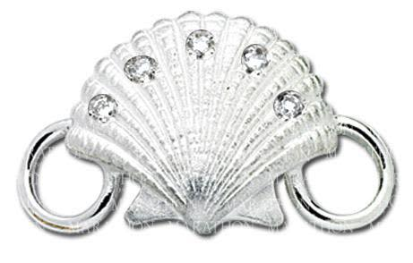 Scallop Shell with Diamonds Convertible Clasp