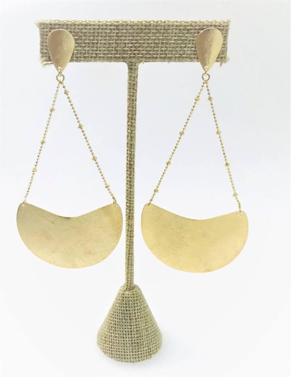 18KY Plated Half Moon Dangle Earrings on an element.
