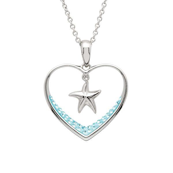 Aqua Heart & Starfish Necklace