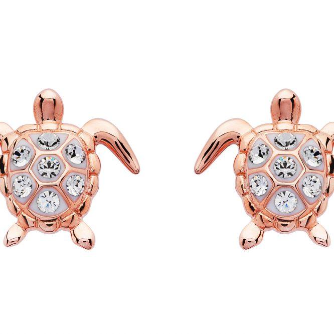 Rose Gold Plated Turtle Stud Earrings