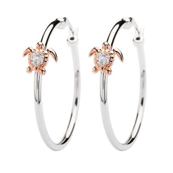Rose Gold Plated Turtle Hoop Earrings