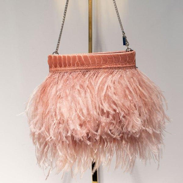 Blush Ostrich Feather Clutch