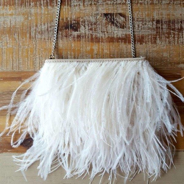Fancy White Ostrich Feather Handbag