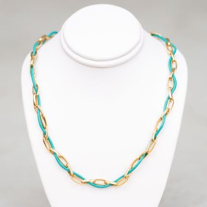 Turquoise Leather Yellow Gold Chain Choker on a white display element.