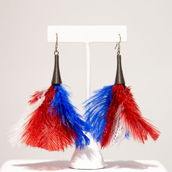 Red, White, & Blue Fluffy EarringsRed, White, & Blue Fluffy Earrings front view.