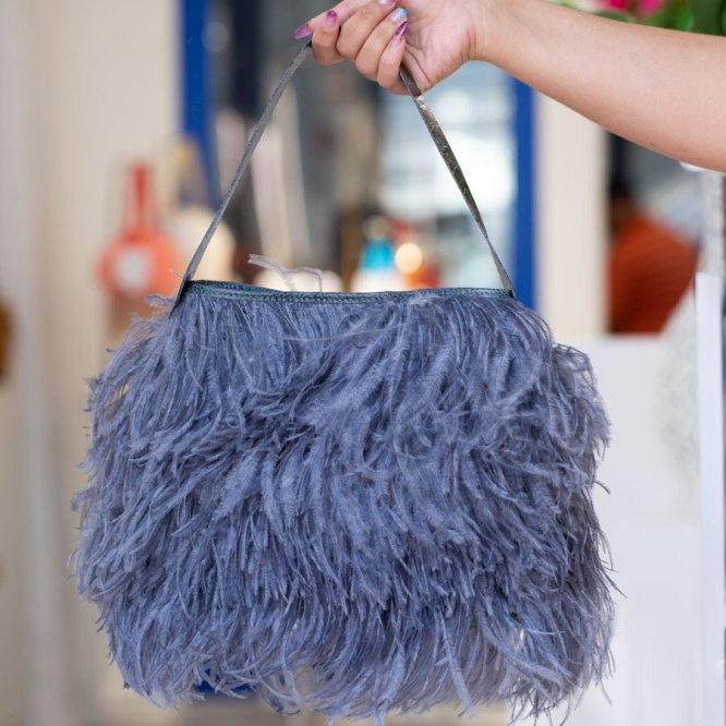 Charcoal Grey Shayleen Purse held in a models hand by the handle.