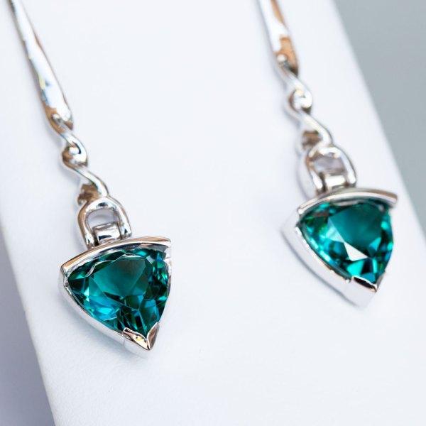 Trillion Cut Caribbean Blue Quartz Earrings angle view up close on stones.