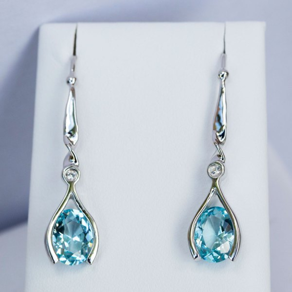 Aqua Topaz Earrings with White Sapphires front view.