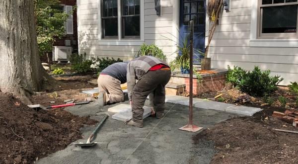 Photo of flagstone installation