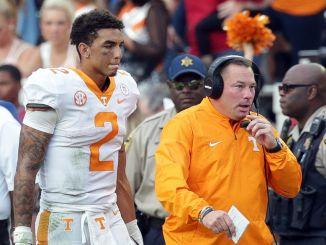 Tennessee Vols Head Coach Butch Jones and quarterback Jarrett Guarantano