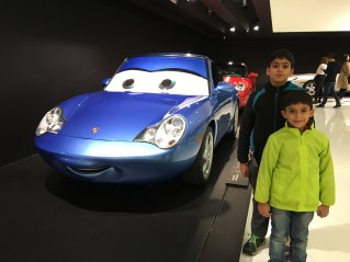 At the Porsche Museum with Sally Carrera from the Pixar Movie 'Cars'
