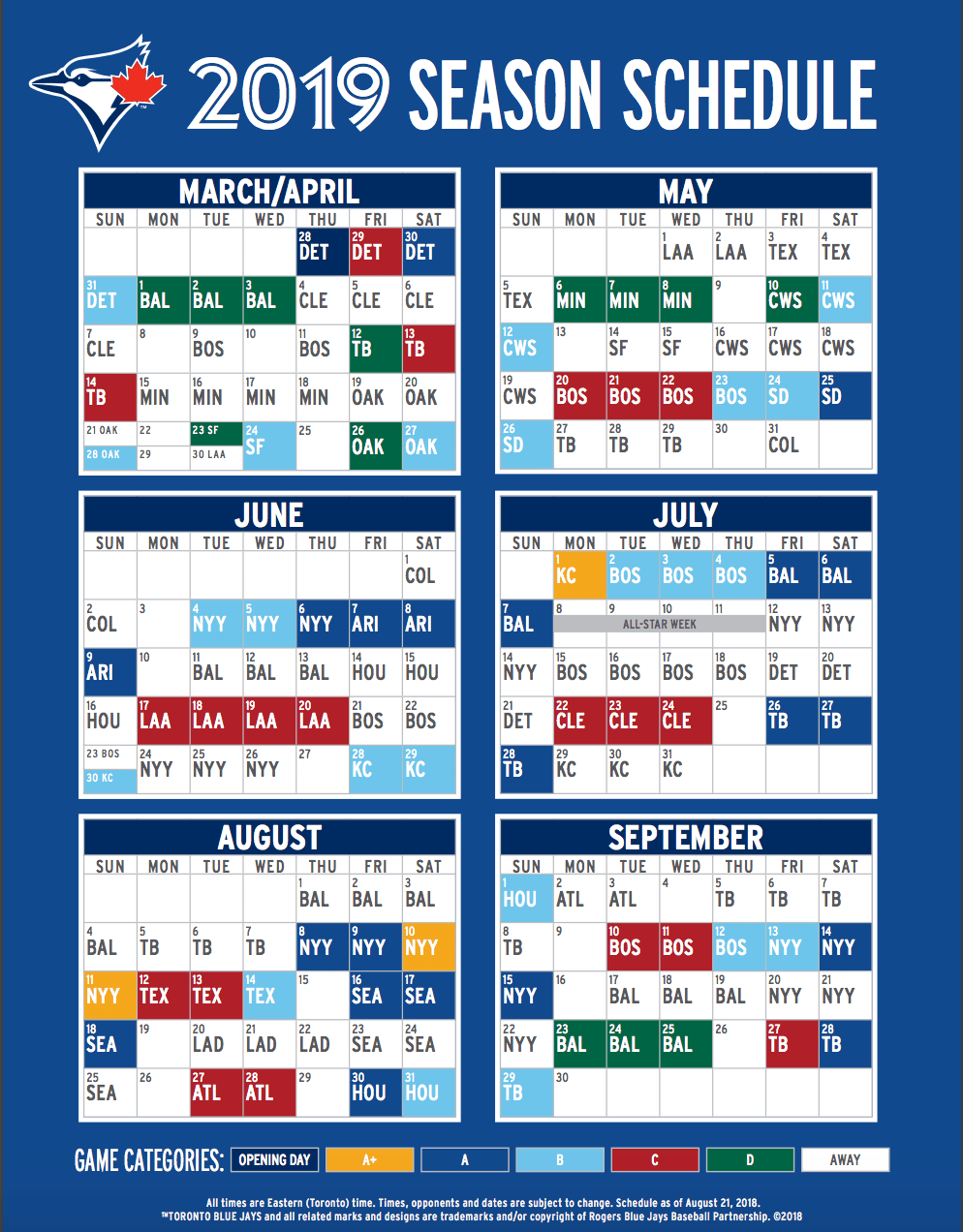 photo regarding Yankees Schedule Printable identified as Choose Your Initially Glimpse At The 2019 Blue Jays Timetable