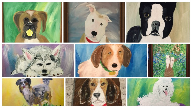 Acrylic Dog Paintings on Canvas