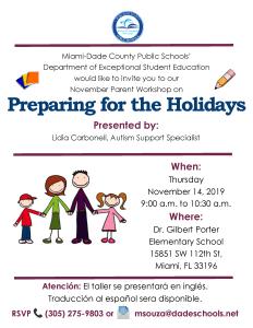 ASD Parent Workshop - Preparing for the Holidays @ Dr. Gilbert Porter Elementary School   Miami   Florida   United States