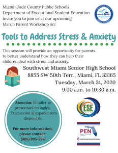 Tools to Address Stress and Anxiety Flyer