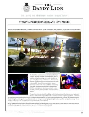 Festival Website Design - The dandy Lion Cafe - Entertainment
