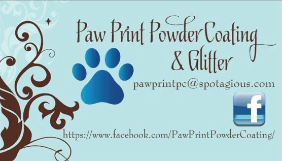 paw print powder coating and glitter