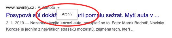 archivní vyhledávání google