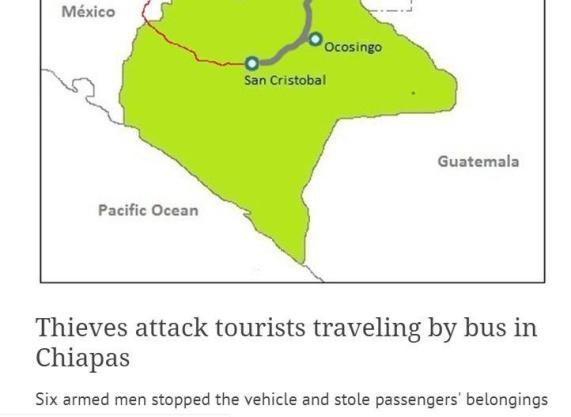 Izsek iz spletnega mehiškega časopisa. Oboroženi rop se lahko zgodi.