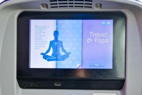 Aplikacija Joga na Latam Airlines letalu