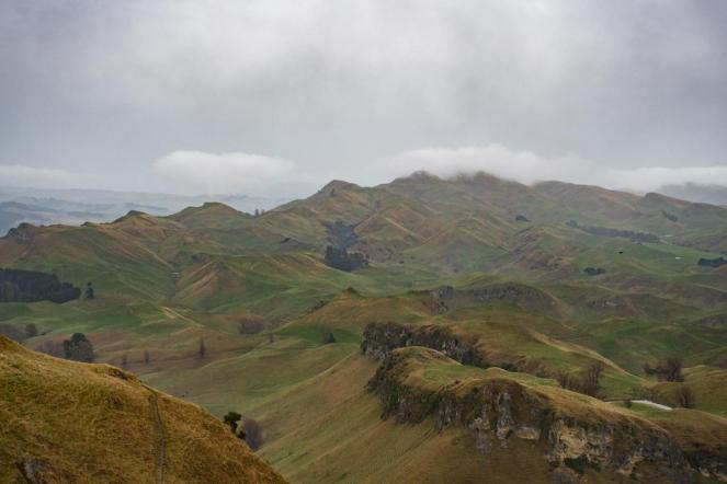 Razgled iz Te Mata vrha - zeleni špičasti hribčki, nad njimi sivi oblaki