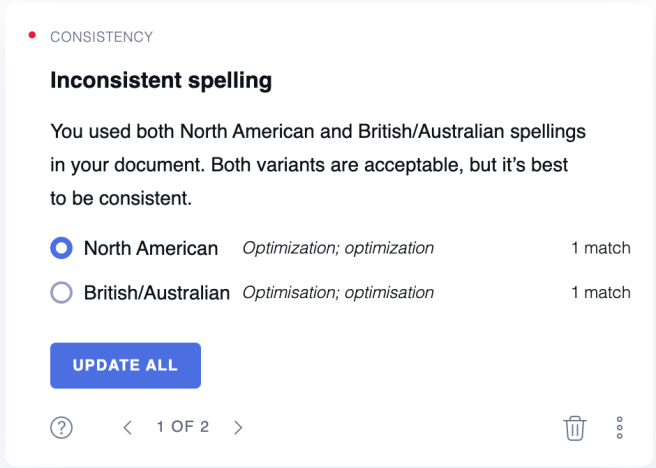 Grammarly Premium Checks Consistency of spelling