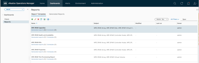Reports in the HPE 3PAR management pack for VMware vRealize Operations