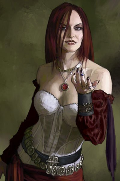 A vampire woman with red hair and a white corset.