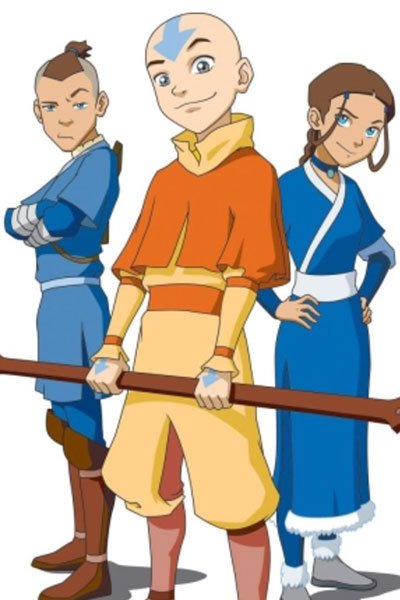 Sokka Ang and Katara from Avatar the Last Airbender.
